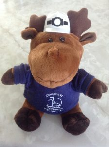 A 9 inch plush Moose wearing a navy Painesdale Mine and Shaft hoodie and a white mining cap.